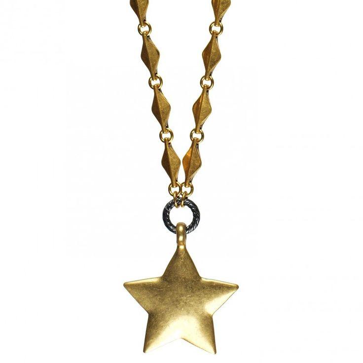 Hultquist-Copenhagen Star Necklace - Hematite & Gold