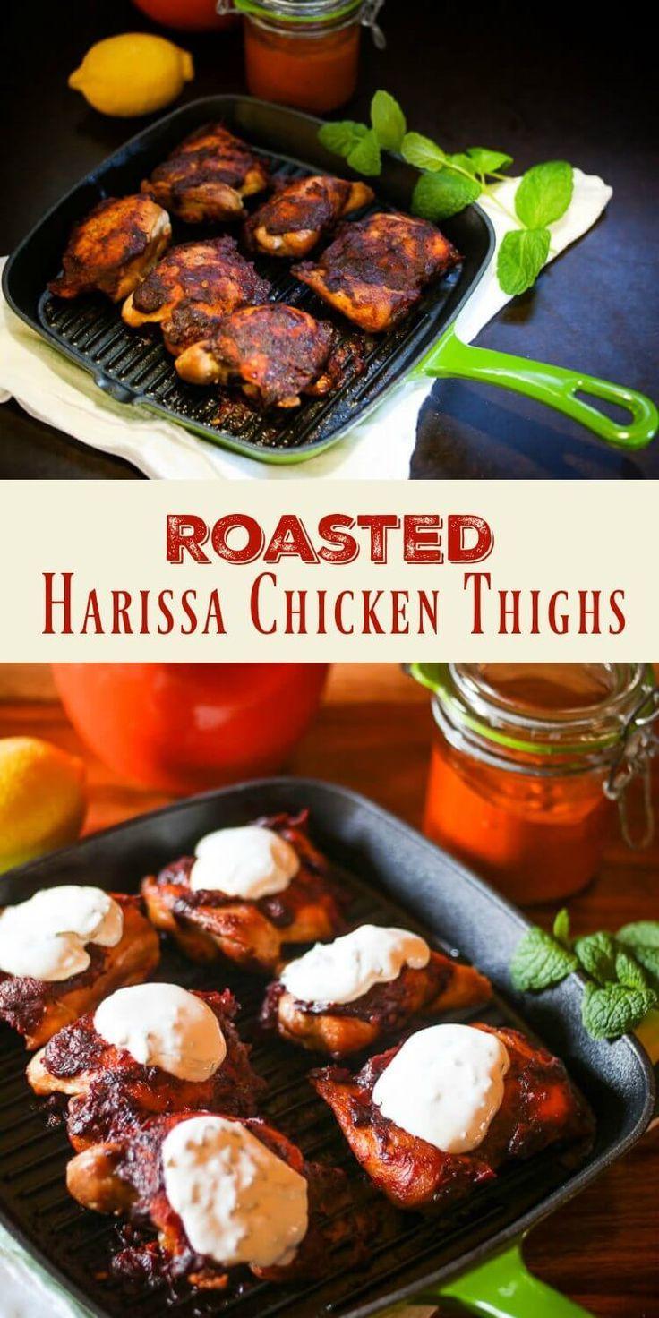 Harissa, a favorite condiment in North African cuisine, gives my simple Roasted Harissa Chicken Thighs a fiery and flavorful kick! #harissachicken #harissa #NorthAfricancooking #glutenfree #healthyrecipe #chickenthighs via @TamaraBMS