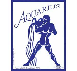 """Aquarius bumper sticker Portraying a man pouring an endless stream of water from an amphora, zodiac bumper sticker represents the sign of Aquarius. Printed in blue and white, it measures approximately 3"""" wide and 3 3/4"""" tall."""
