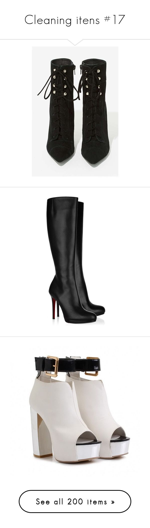 """Cleaning itens #17"" by gabriela-glockshuber ❤ liked on Polyvore featuring shoes, boots, ankle boot, pointed-toe boots, pointy-toe ankle boots, black suede boots, black boots, black ankle boots, heels and sapatos"