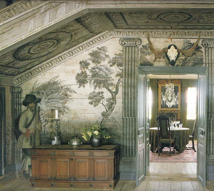 Beyond beautiful.  Glorious mural in soft greys  muted greens.  La Pouyette - Trompe d'oeil in Grisaille