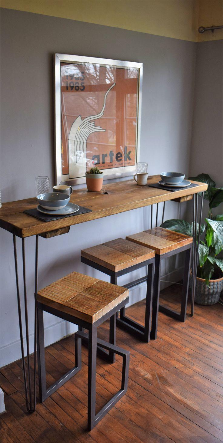 Reclaimed Wood Industrial Breakfast Bar With Hairpin Spoon In 2020