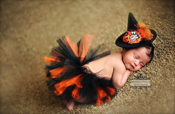 Orange and Black Tutu and Mini Witch Hat (SET) - Perfect Newborn or Infant Halloween Photography Prop