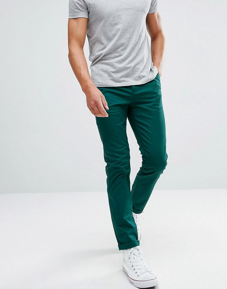 ASOS Slim Chinos In Dark Teal - Green