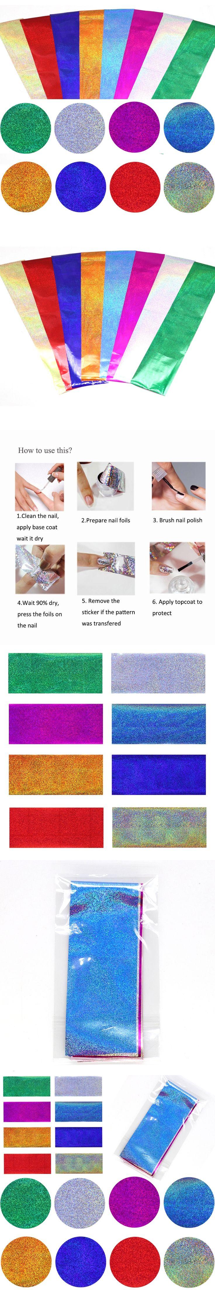 8Pcs/Set Holographic Nail Foils 20*4cm Laser Fine Sand Glitter Nails Art Transfer Stickers Manicure Nail Art Decorations Tips