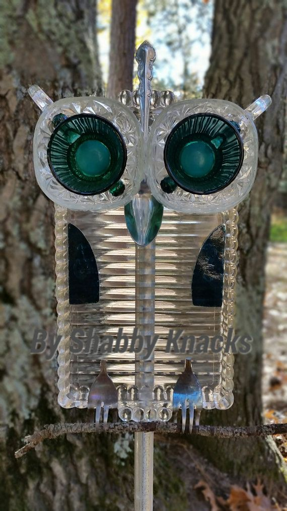 "A project kids can help you with.  Head to a thrift store or rummage through your own kitchen and create your own ""owl for the Elliott."" This Repurposed Owl is by ShabbyKnacks on Etsy,"