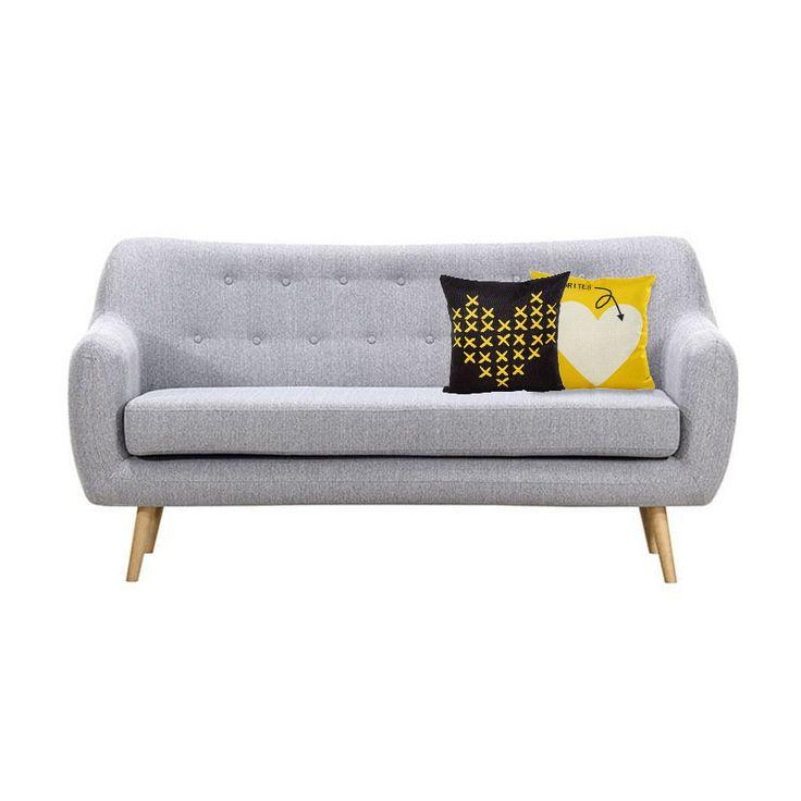 HUPPA sofa retro szara na drewnianych nogach z guzikami