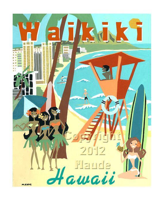 Waikiki Beach Hawai mediados siglo moderno arte imprimir Poster Retro estilo Vintage aqua, verde azulado, naranja quemado