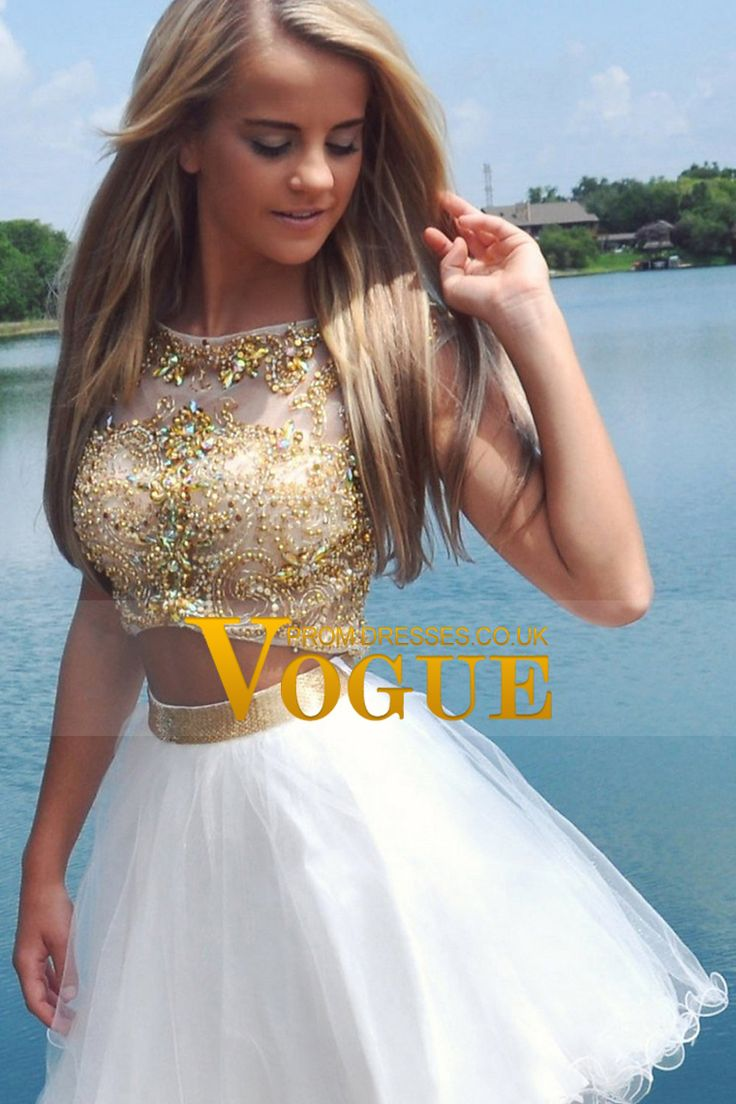2015 Two-Piece Scoop A Line Short/Mini Homecoming Dresses Tulle Beaded Bodice