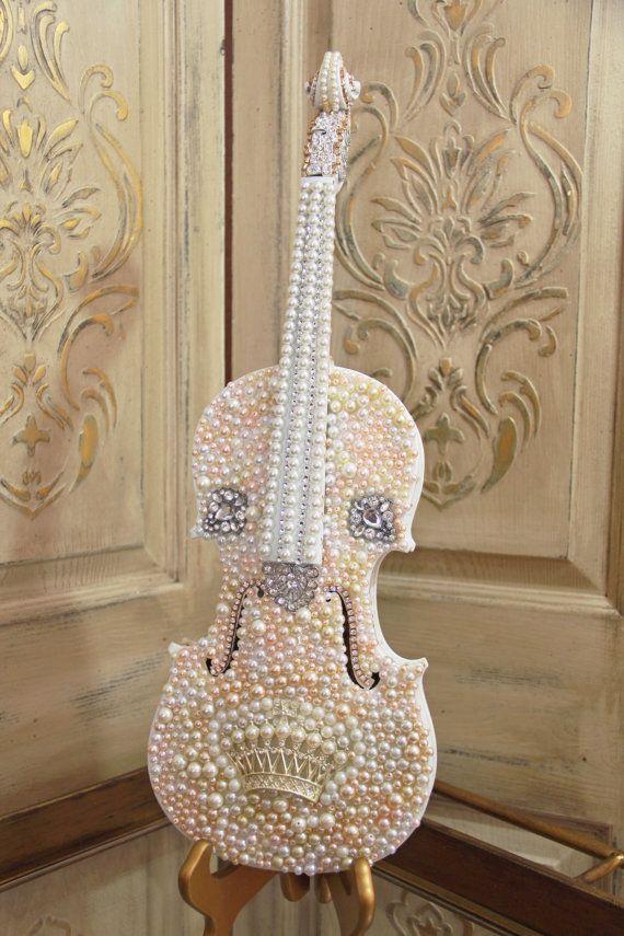 Embellished Violin, altered violin, rhinestone and pearl violin, Mediterranea Design Studio, altered art, vintage violin, decorated violin
