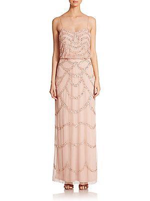 Aidan Mattox Sequin Blouson Bridesmaid Gown - Petal - Size