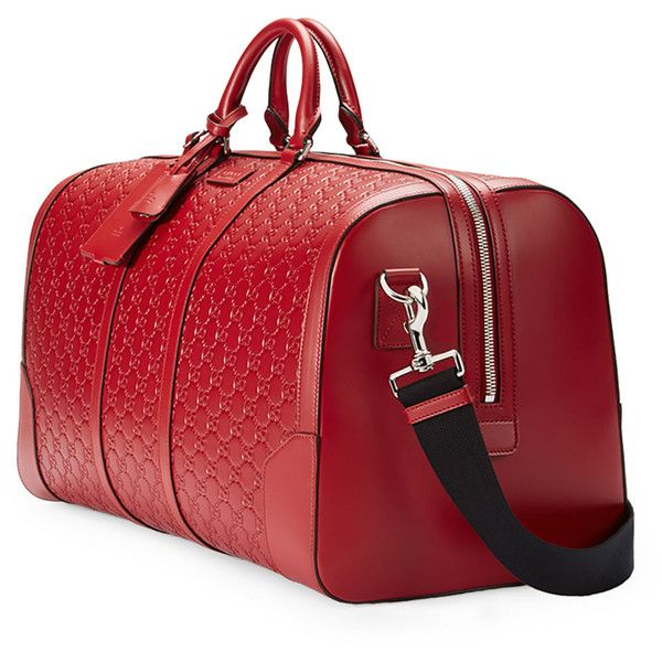 Gucci Signature Large Leather Duffel Bag (8.416.040 COP) ❤ liked on Polyvore featuring men's fashion, men's bags, mens leather duffle bag, mens leather duffel bag, mens duffel bags and mens leather bags