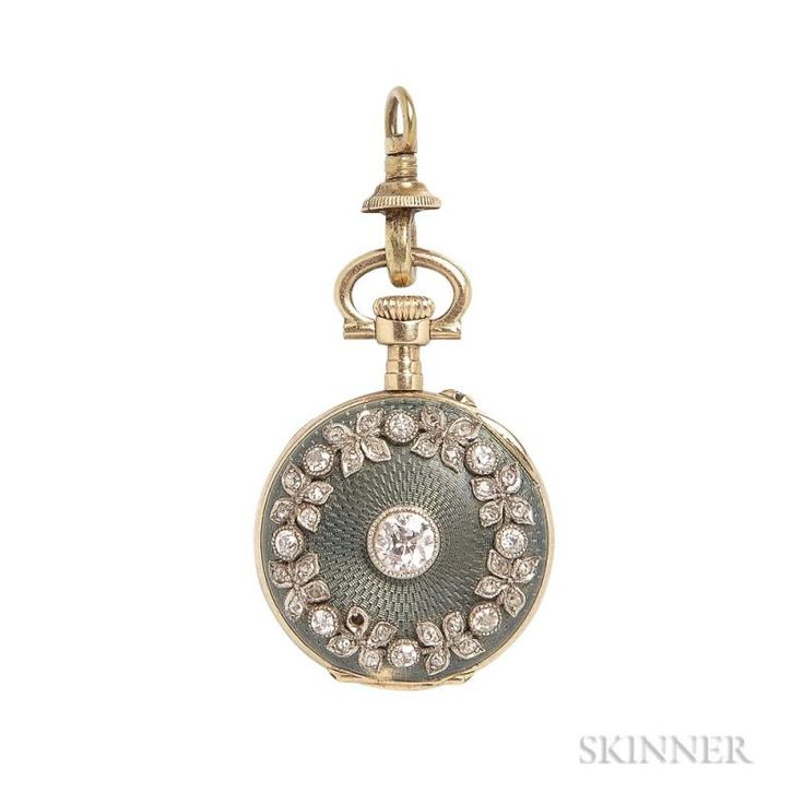 Edwardian 18kt Gold, Enamel, and Diamond Open-face Pendant Watch, the white enamel dial with roman numeral indicators, the be - Price Estimate: $600 - $800
