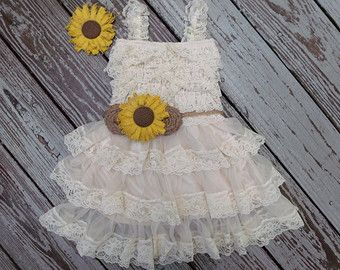 Lace Flower Girl Dress-Rustic Flower Girl by CountryCoutureCo