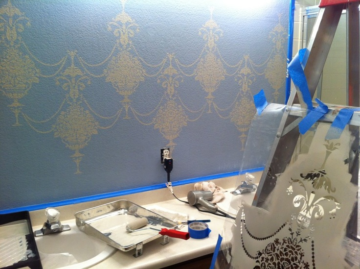How I stenciled my bathroom.   http://janillaice.blogspot.com/2012/07/here-goes-nothin.html