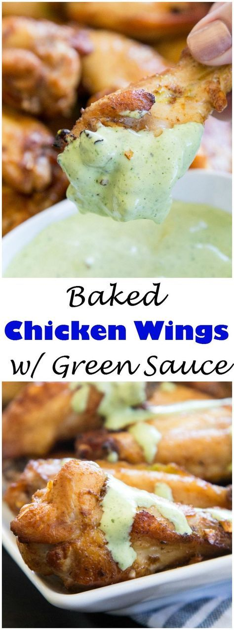 Baked Chicken Wings with Creamy Green Sauce - get the taste of Peru with these super easy chicken wing. Tons of seasoning and a creamy cilantro lime sauce!
