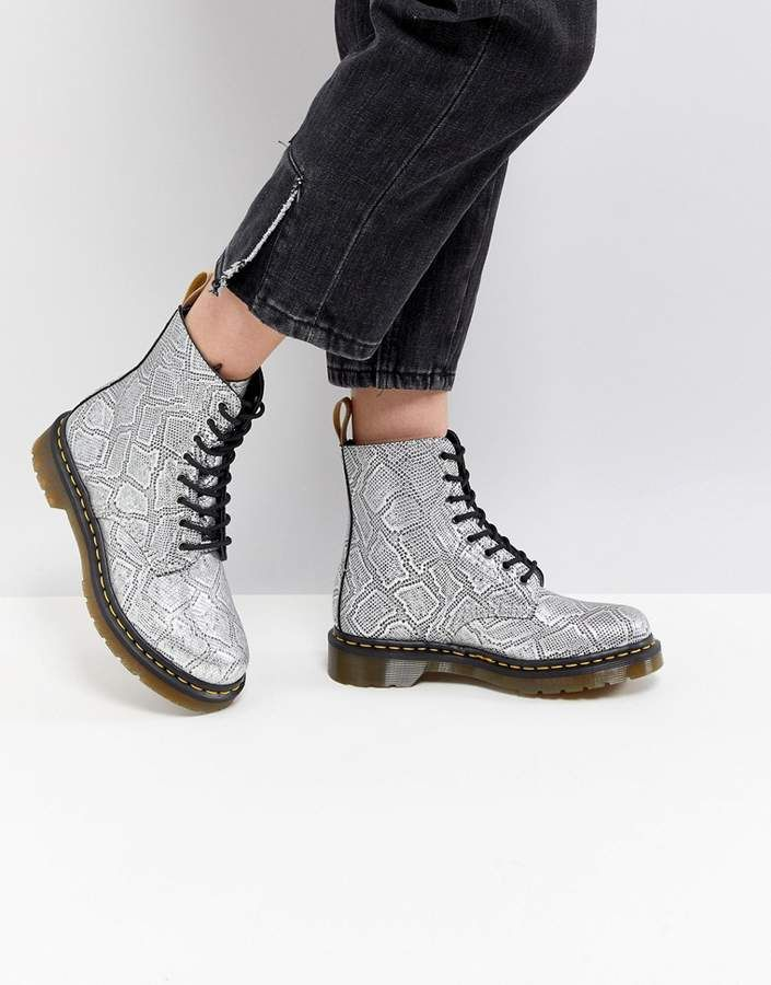 454b48650b9bb1 Dr Martens Vegan Silver Snake Lace up Boots