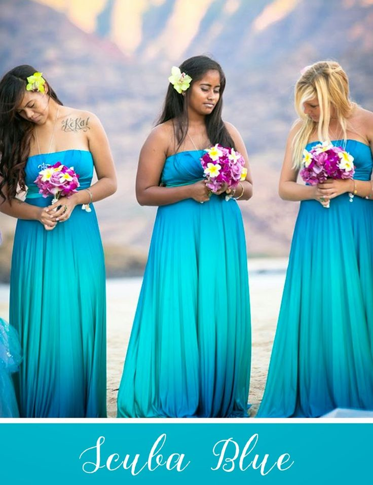"scuba blue bridesmaid dresses. Side note: i have a ""sisters"" tattoo in the same place as the first woman, and she proves  you can look elegant with visible tattoos, despite what my mom thinks."