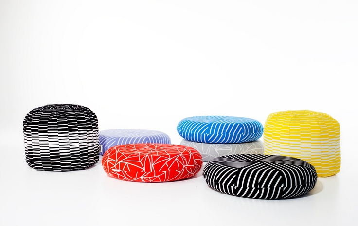 Muovo soft footstools and floor cushions.