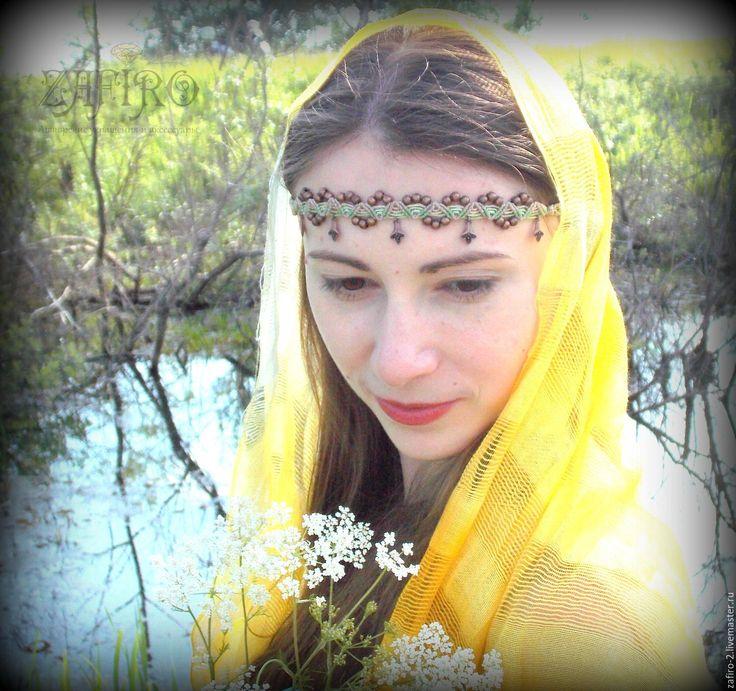"""Купить Диадема """"Эльфийский цветок"""" макраме, бохо, тиара - диадема свадебная, диадема эльфийская"""