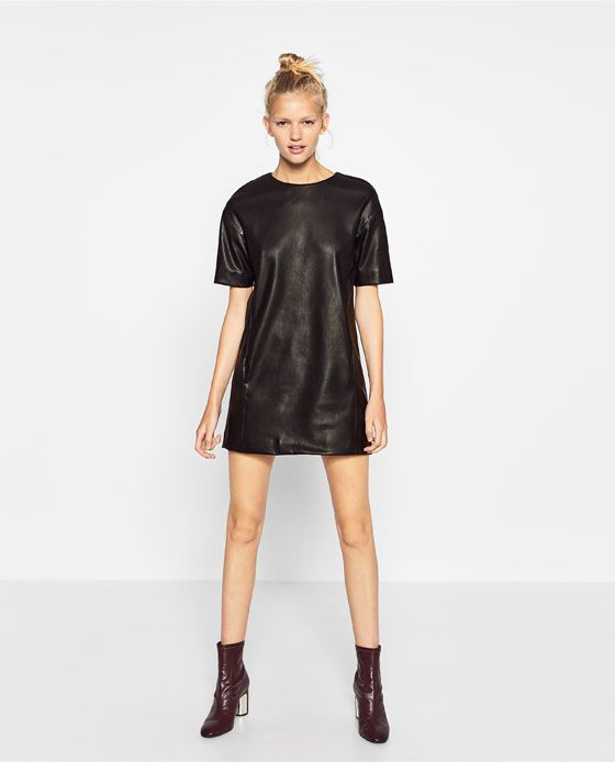 Image 1 of STRAIGHT CUT LEATHER-EFFECT DRESS from Zara