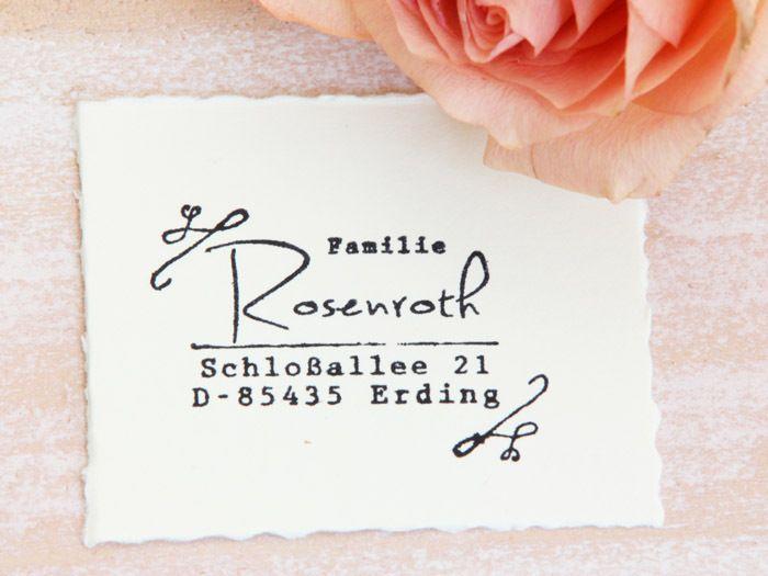 Adressstempel - Rosenroth von lillaskatt auf DaWanda.com