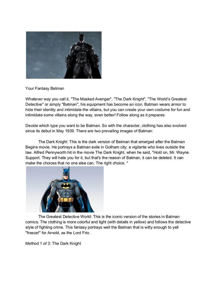 Batman costumes by hannagrauser1 via slideshare