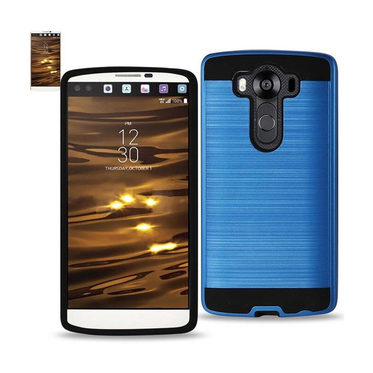 Reiko Lg V10 Hybrid Metal Brushed Texture Tpu+Pc Case In Navy