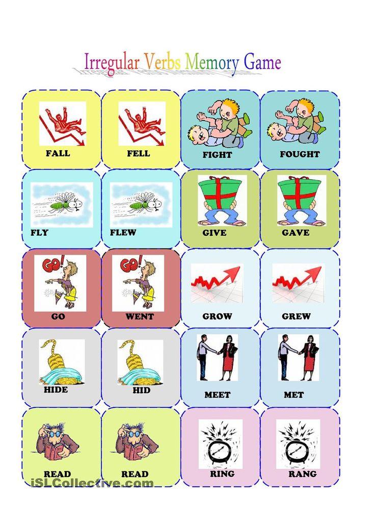 irrgular verbs memory card game (2/3) | FREE ESL  worksheets                                                                                                                                                                                 More