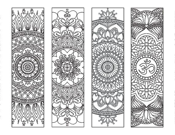 4 mandala colouring bookmarks meditation peace joy stress relieving by intrikateink