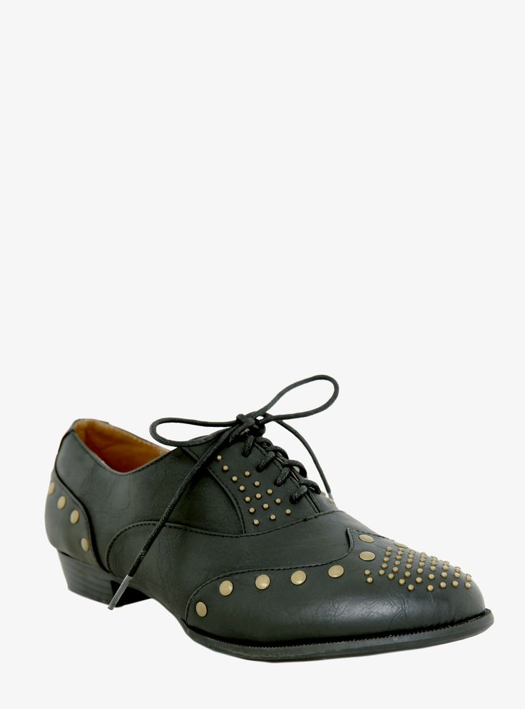 Antique gold studs distinguish this pair of black Oxfords crafted from sleek faux leather. Stacked heel.