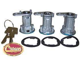 Crown Automotive - Crown Automotive Door Cylinder Locks and Keys Set - 8122874K3 - Fits 1987 to 1990 YJ Wrangler - 4WD.com