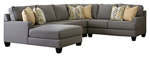 Ashley Furniture Signature Design – Chamberly 4-Piece Sectional – Right Arm Facing Loveseat with Armless Loveseat, Wedge & Left Corner Chaise – Gray