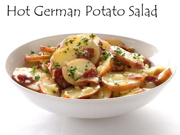Oktoberfest Hot German Potato Salad...nothing says Oktoberfest better than brats, kraut, hot potato salad and TALLADEGA! Das gut!