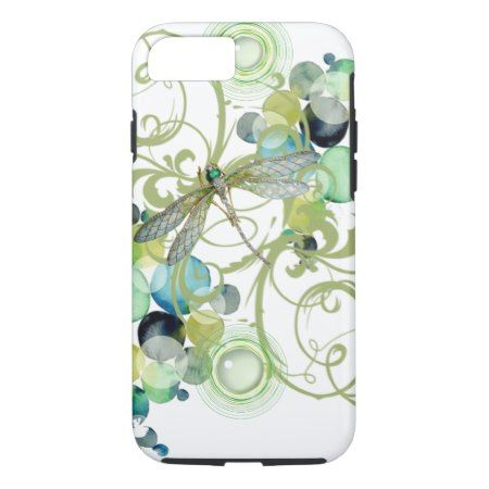 Cute dragonfly with abstract swirls & chic pearls iPhone 7 case - click to get yours right now!