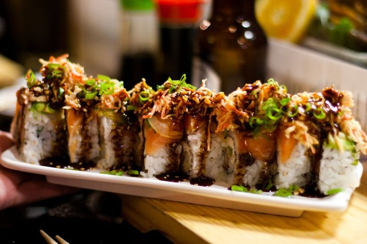 Tuna and yellowtail, deep fried, and topped with two spicy ...