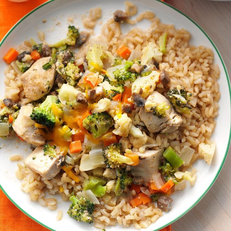 Broccoli-Cauliflower Chicken Casserole Recipe -A chicken, broccoli and rice casserole is one of our favorite comfort foods. I make my easy variation in the slow cooker, with no rice. You can easily swap in whatever cheese you prefer. I sometimes use dairy-free cheese to create a more paleo-friendly dinner. The dish is also delicious sprinkled with a simple bread crumb topping. —Courtney Stultz, Weir, Kansas
