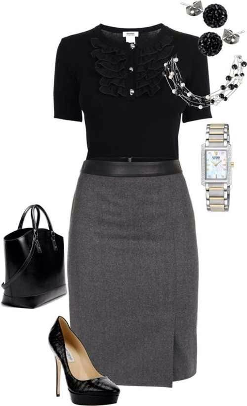 Love the conservative yet trendy combination in this look.