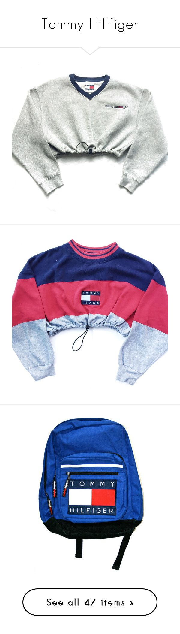 """Tommy Hillfiger"" by nnenna21 ❤ liked on Polyvore featuring tops, hoodies, sweatshirts, shirts, sweaters, crop top, white sweatshirt, vintage sweatshirts, white crop tops and tommy hilfiger"
