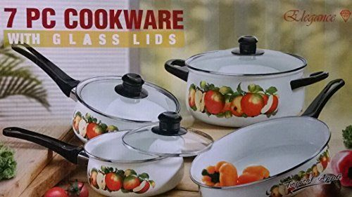 Porcelain on Steel 7 Piece cookware set with Glass Lids Tropical Apple *** You can find out more details at the link of the image.