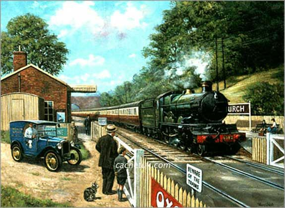 steam trains british in paintings - Artist Kevin Walsh www.robertopiecollection.com Train Spotting with Grandad Featuring Great Western Castle Class steam locomotive & 1930s Austin Seven Artist: Kevin Walsh Original medium: Oil