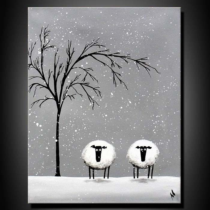 "MERV Original Deco Painting Canvas Country Folk Farm Primitive Sheep Xmas Funny Humour Humor Snow Winter ART ""White Company"". $150.00, via Etsy."