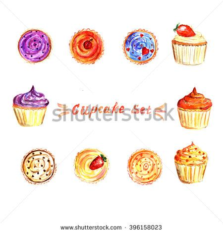 Watercolor cupcake set with different fillings: blueberry, orange, strawberry, cherry, chocolate. Stock illustration. Upper and front view. Deserts for cafe and restaurants.