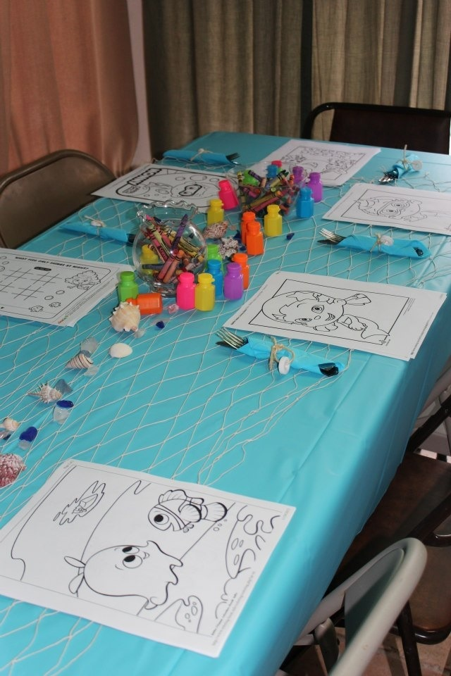 kids table had crayons in the fish bowls bubbles and bubble guppy color page print