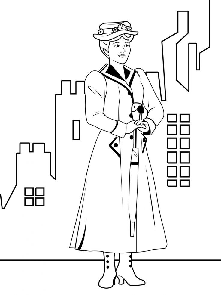 Mary Poppins Coloring Page | Coloring pages for kids, Mary ...