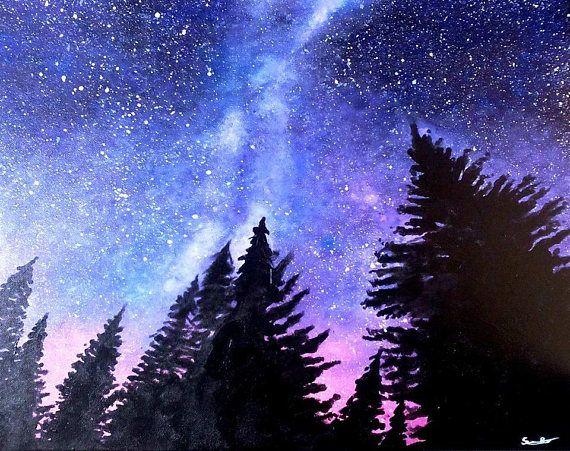 Tableau Paysage De Nuit Tableau Galaxie Tableau Voie Avec Images