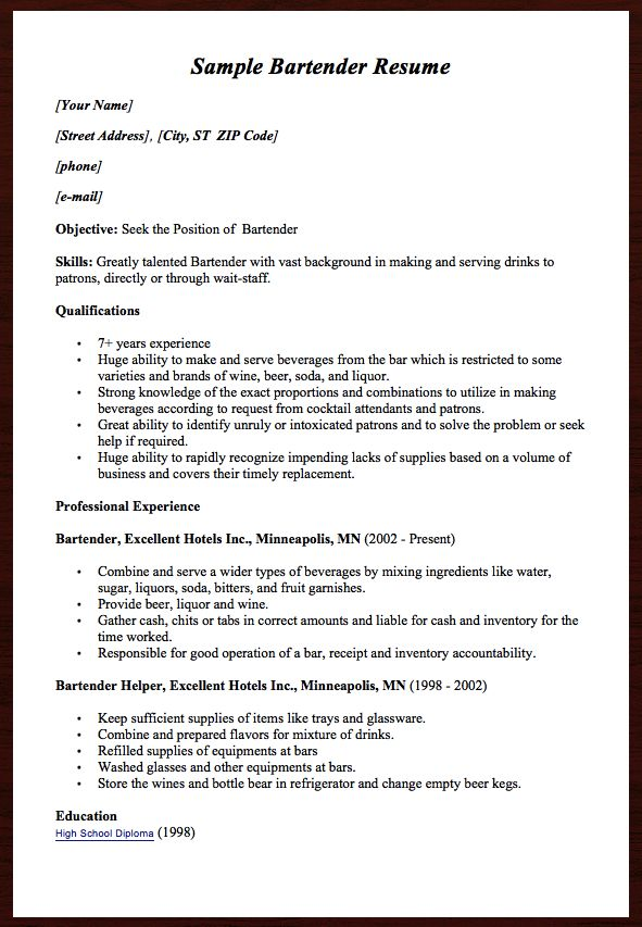 Here comes another free Sample Bartender Resume example, you can - bartending resume skills