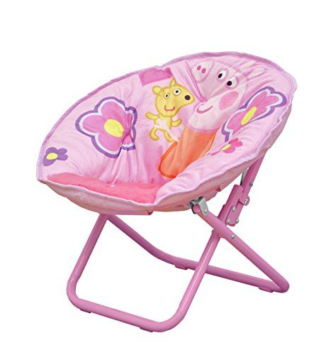 Featuring a colorful Peppa Pig design your child can enjoy their favorite book or television show while sitting comfortably on his or her Peppa Pig Toddler Saucer Chair. Its saucer shape makes it per...