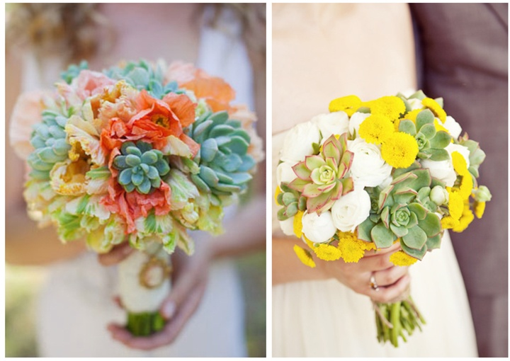 bouquet on right. combining succulents with a simple white and pop of yellow button mum