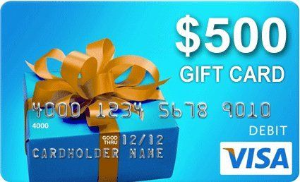 Grand Prize: A $500.00 Visa Prepaid Reward Card. How you spend it is up to you; whether you splurge on yourself or spoil others.